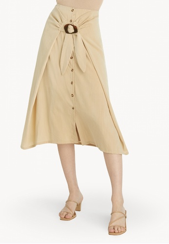 Pomelo beige High Waist A-Line Skirt - Beige 08ED2AA2552833GS_1