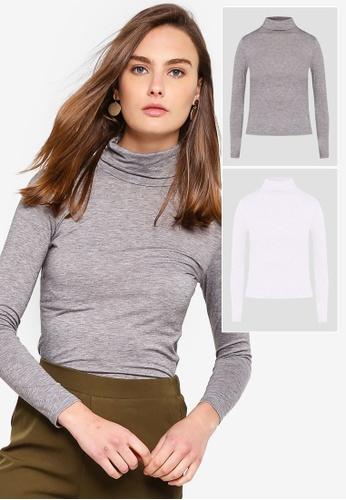 591c74d7094b3 ZALORA BASICS grey and white 2 Pack Basic Jersey Polo Neck Long Sleeve Top  ZA274AA0LF16SG 1