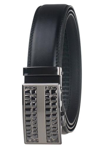 FANYU black Leather Dress Belt With Automatic Buckle FA549AC0GYI6SG_1