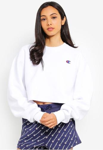 e18183ab8 Champion white Reverse Weave Cropped Cut Off Crew Sweatshirt  3C46DAA31A4E0BGS_1