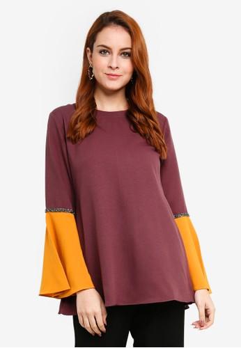 Aqeela Muslimah Wear purple Bell Sleeve Blouse 3A416AAE5101C6GS_1
