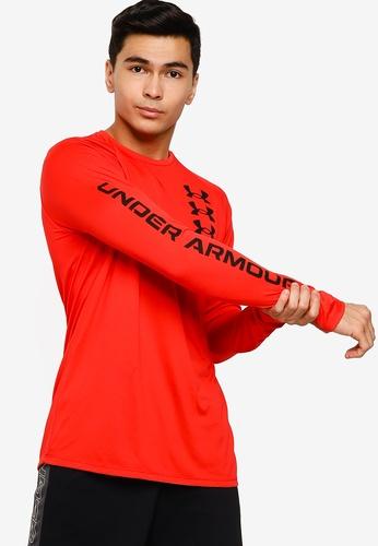 Under Armour 紅色 UA Tech Triple Logo Long Sleeve T-Shirt 7718BAA703C116GS_1
