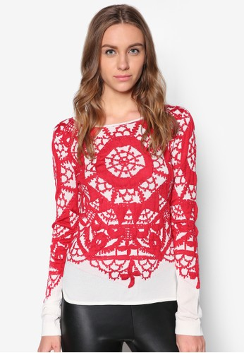 抽象印花zalora是哪裡的牌子針織長袖衫, 服飾, 毛衣& 針織外套