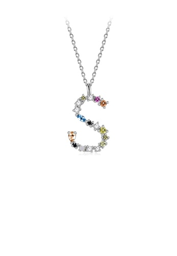 Glamorousky silver 925 Sterling Silver Fashion Simple Color English Alphabet S Pendant with Cubic Zirconia and Necklace 45FEEAC9824957GS_1
