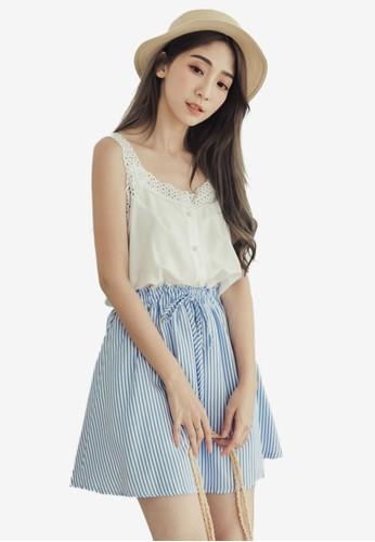 Eyescream blue Lace And Stripes Mini Dress 3522EAAD34E01FGS_1