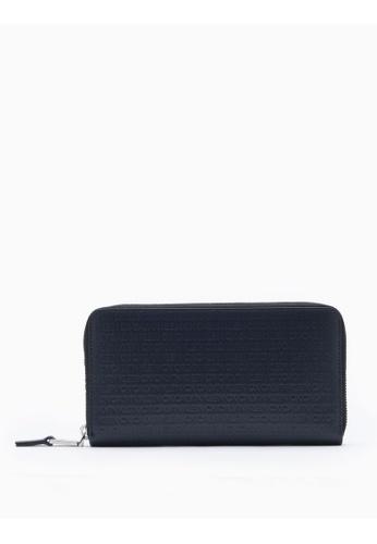 Calvin Klein navy All-Over Logo Continental Zip-Around Wallet 54545AC627C406GS_1