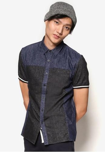 esprit台灣門市撞色羅紋短袖襯衫, 服飾, 素色襯衫