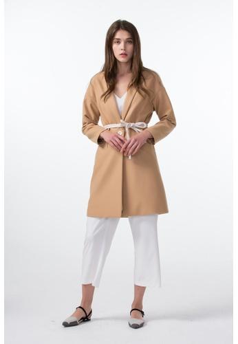 Les Premieres beige Color Contrast Double Belt Coat 90496AABEDC0D7GS_1