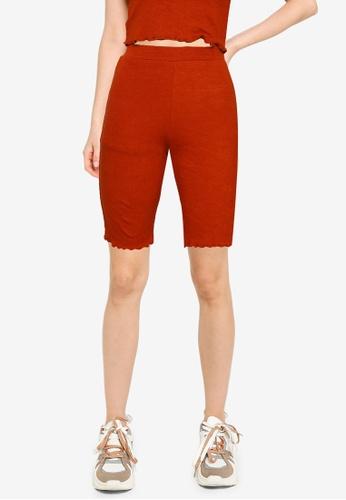 Public Desire orange Lettuce Hem Detail Cycling Shorts 29525AAE692468GS_1