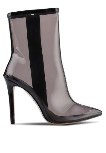 Public Desire 黑色 透明高跟踝靴 59E43SH6C93112GS_1