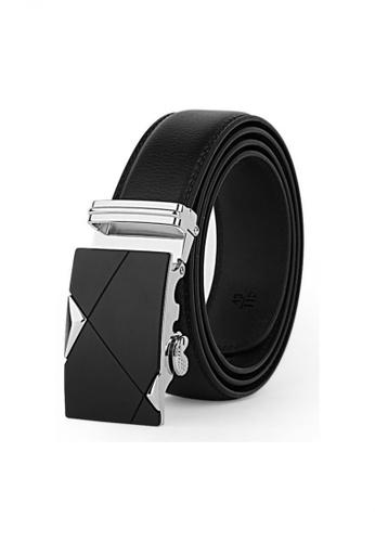 Jackbox black Dante Premium Leather Automatic Buckle Men's Belt 802 (Silver) JA762AC56TNBMY_1