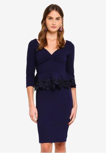 Goddiva navy Lace Peplum Midi Dress BCD83AAD26DB2BGS_1