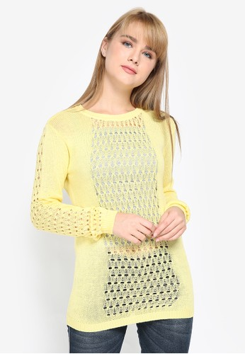 Mobile Power yellow Cut Off Combination Knitting Sweater 92ACEAA67F4D22GS_1