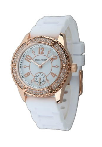 EGLANTINE gold EGLANTINE® Vanessa Ladies Pink Gold Plated Steel Quartz Watch Paved with Crystals on White Rubber Strap 4B549ACB4F625CGS_1