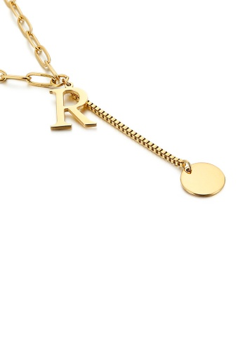 Glamorousky silver Simple and Fashion Plated Gold English Alphabet R Tassel 316L Stainless Steel Pendant with Necklace E2EFCACBC10B67GS_1