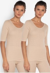 MARKS & SPENCER beige 2 Pack Thermal Short Sleeve Pointelle Tops 36C18AAAB143D5GS_1
