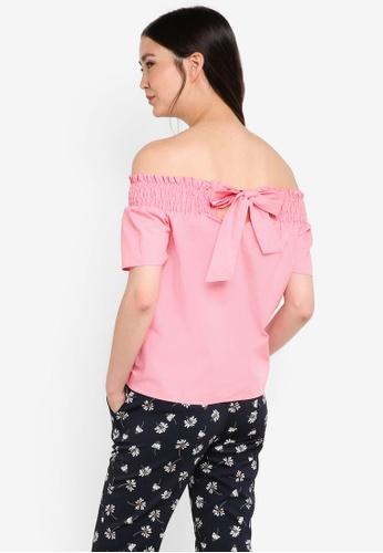 Dorothy Perkins pink Pink Poplin Tie Back Bardot DO816AA19GVGMY_1