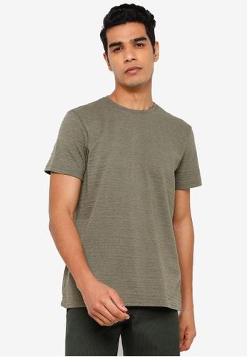 KOTON green Ribbed Short Sleeves Tee B042DAA8D2C071GS_1