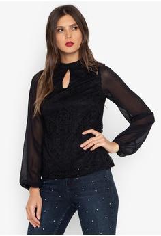 a794796525085 Dorothy Perkins black Black Lace Chiffon Long Sleeve Top 44176AAE43B3FCGS 1