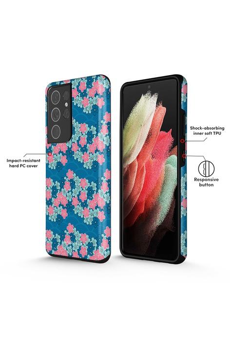 Polar Polar Navy Sakura Wave 軍藍櫻花海 Samsung Galaxy S21 Ultra 5G 防摔手機殼 (光面)