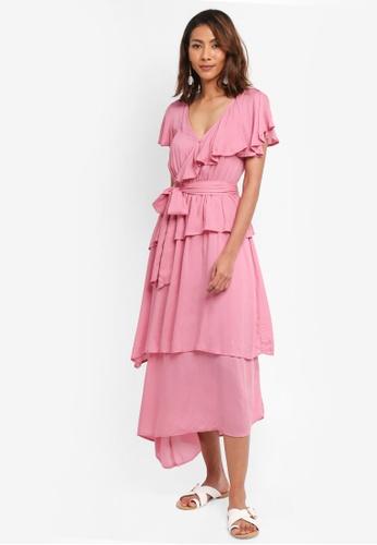 LOST INK pink Drape Tiered Maxi Dress FF168AA13FFE1AGS_1