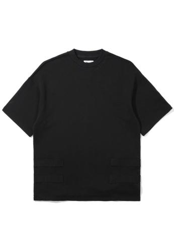 izzue black Taped short sleeve sweatshirt 3BBF8AA166E90BGS_1