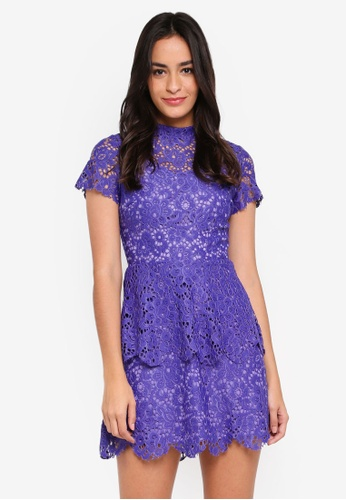 MISSGUIDED blue High Neck Short Sleeve Lace Skater Dress C43C1AA05BD2ECGS_1