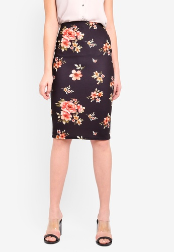 Dorothy Perkins 黑色 Petite Black Floral Pencil Skirt 58DBAAA1D964D9GS_1
