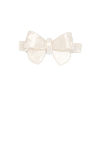 Glamorousky silver Fashion Simple White Ribbon Large Hair Slide C31A6AC4CFC119GS_1