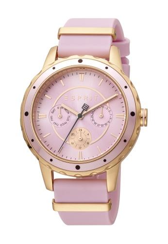 Esprit gold ESPRIT [Brisk] 40mm Pink Rubber Strap with Rose Gold Plated Metal Loop Women Watch [ES1L140P0065] FD893AC38DCFBBGS_1