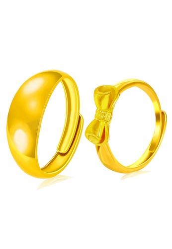 YOUNIQ gold YOUNIQ Premium Smooch Ribbon 24K Plated Ring Set- Couple Rings (Gold) YO999AC17NQOMY_1
