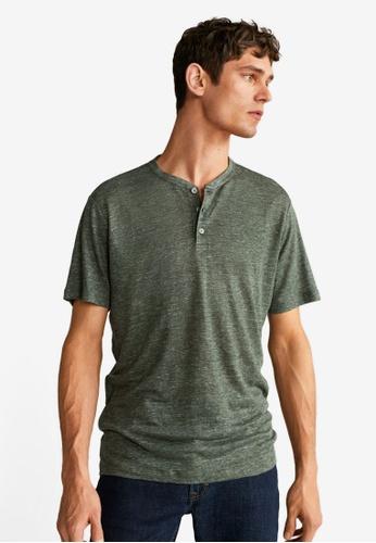 Mango Man green Linen T-Shirt 5E5FAAA395DB47GS_1