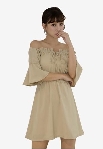 Tokichoi beige Off Shoulder Mini Dress 714E9AAC0C812AGS_1