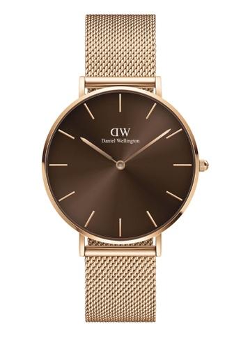 Daniel Wellington gold Petite Amber 36mm Rose Gold Brown Watch D4BE3AC5FC87FBGS_1