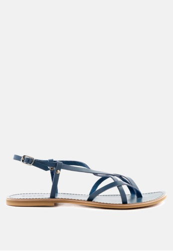 RAG & CO blue Strappy Flat Leather Sandals 3B589SHBD35A2DGS_1