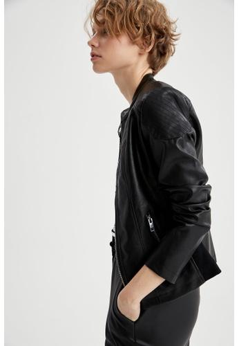 DeFacto black Faux-Leather Biker Jacket 2D8ADAAEB88928GS_1