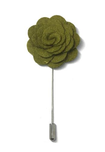Splice Cufflinks green Army Green Classic Camellia Fabric Flower Lapel Pin SP744AC61UCKSG_1