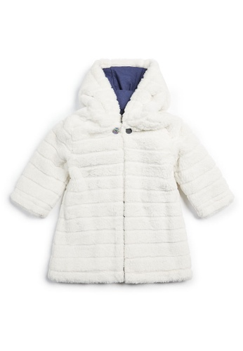Mamas and Papas white Faux Fur Hooded Coat 1BDD1KAD3C25A3GS_1
