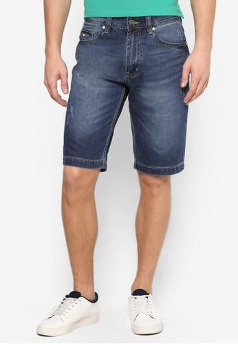 水洗摺痕刷破牛仔短褲,esprit 台灣門市 服飾, 短褲