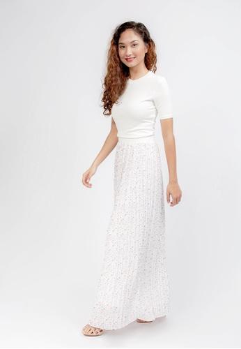 ELDA white Terrazzo Pleated Skirt 524EDAAC407853GS_1
