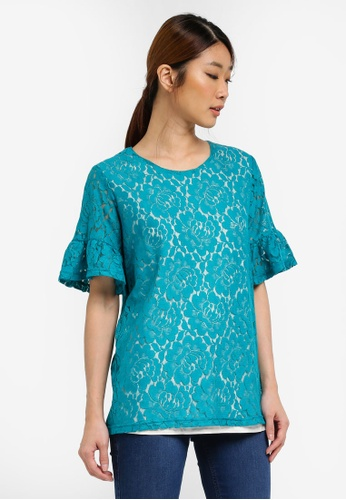 UniqTee green Ruffle Sleeves Lace Top UN097AA0SHDEMY_1