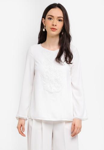 Wallis white Petite Ivory Lace Trim Blouse 5D012AA48C0D68GS_1