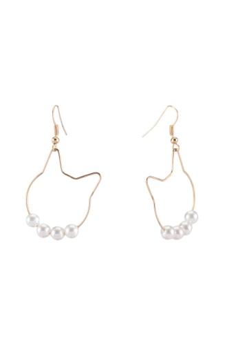 Saturation gold Classy Cat Drop Earrings C985EAC265C268GS_1