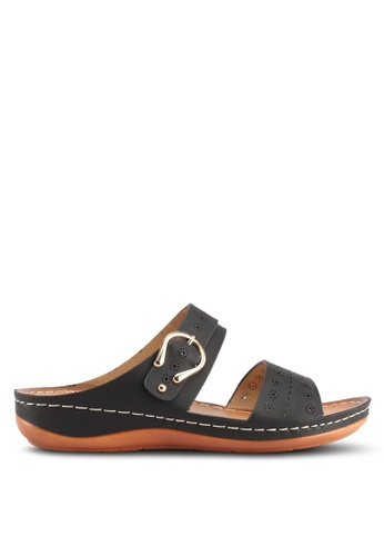 Spiffy black Soft And Comfy Series Double Strap Wedges Sandals 2C8EASH3BFB435GS_1