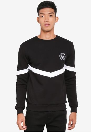 Just Hype black Mono Sporting Crew Neck Sweatshirt F5CAFAA5DFB1E8GS_1