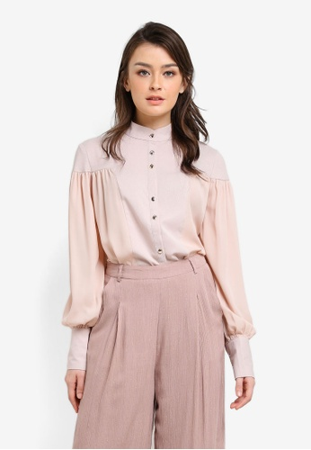 Zalia brown and beige Mixed Fabric Blouse 0BD60AA23BC590GS_1