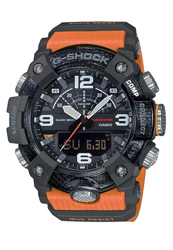 Casio black Casio G-Shock Mudmaster GG-B100-1A9DR Orange and Black Carbon and Resin Watch 8B9E2AC34A126AGS_1