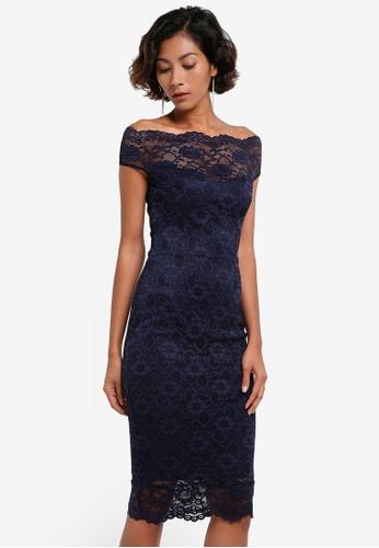 Goddiva navy Bardot Lace Midi Dress GO975AA0RF52MY_1