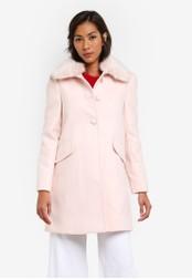 Miss Selfridge multi Blush Faux Fur Trim Dolly Coat MI665AA0SAC0MY_1
