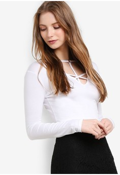 MISSGUIDED  White Harness Front Long Sleeve Crop Top
